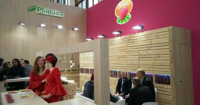 El stand de Planasa. A la derecha, de frente, Alexandre Pierron-Darbonne, presidente del Grupo Planasa, en una reunión en Fruit Logistica.